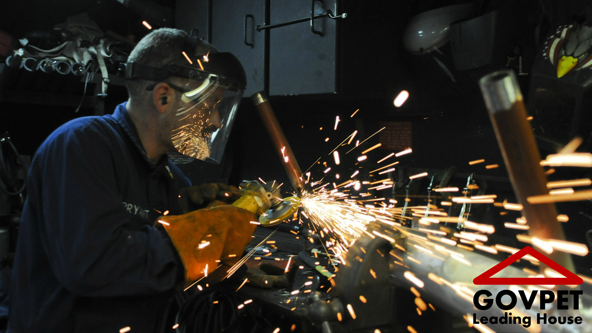 Metal worker during apprenticeship and Logo